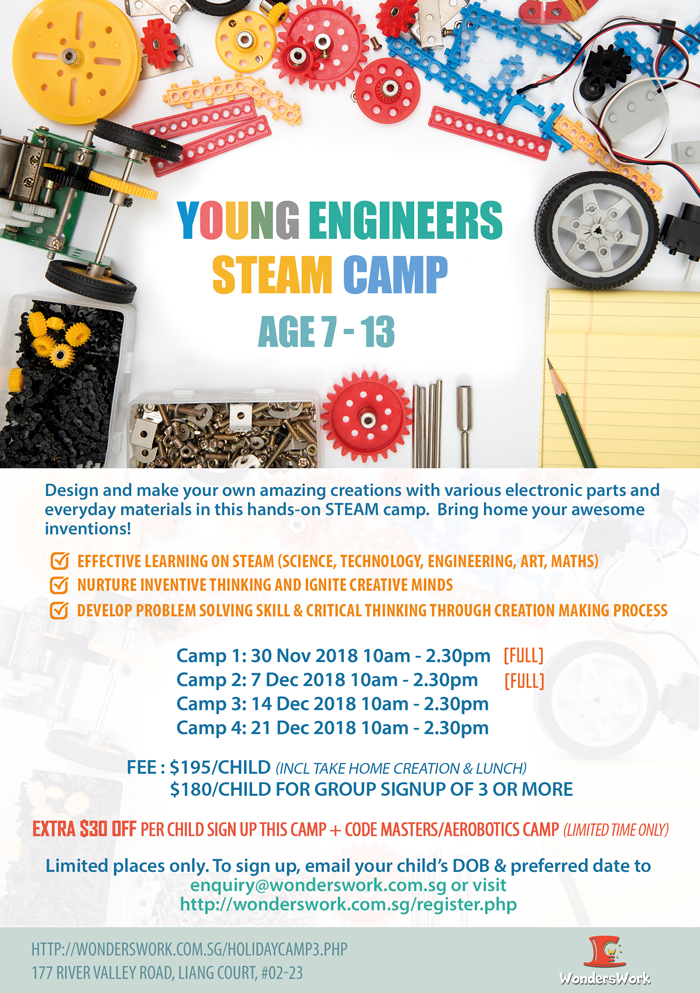Young Engineers STEAM STEM Invention Design Maker School Holiday Children Camp November December 2018